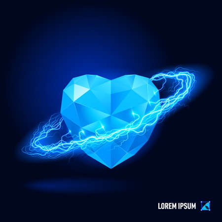 heart diamond: Blue diamond in form heart surrounded by a stream of blue energy in the space