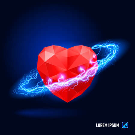 thunder storm: Red diamond in form heart surrounded by a stream of blue energy in the space Illustration