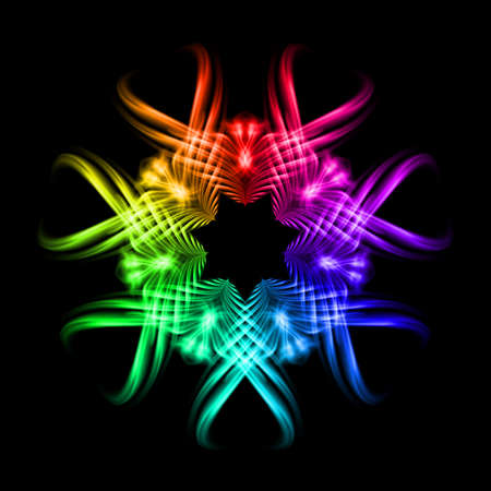 smudge: Multicolored fire ornate decorative rhythmic flamy smudge floral pattern on the black background. Six patterns in different directions.