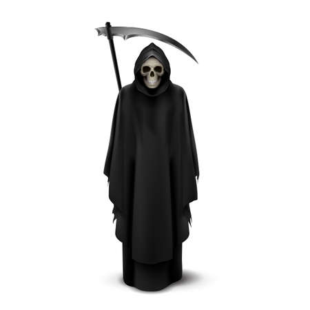 Scytheman with a scythe in his hands on white background. Vector