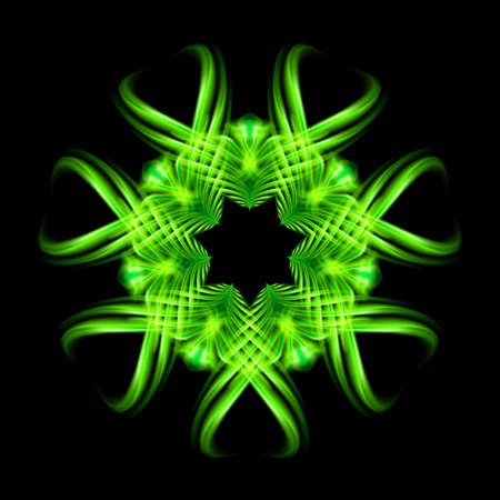 flamy: Green fire ornate decorative rhythmic flamy smudge floral pattern on the black background. Six patterns in different directions.