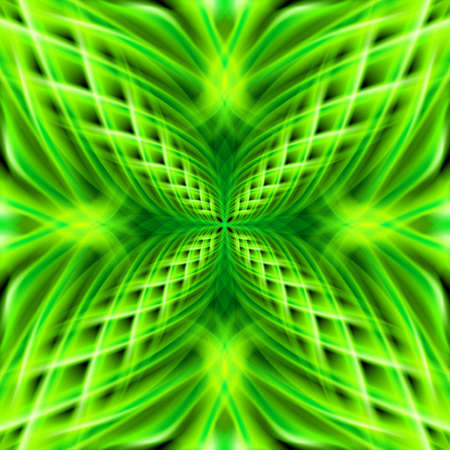 flamy: Green shiny glossy braid smeary decorative flamy floral pattern on the black background. Four beautiful patterns in different directions.  Illustration