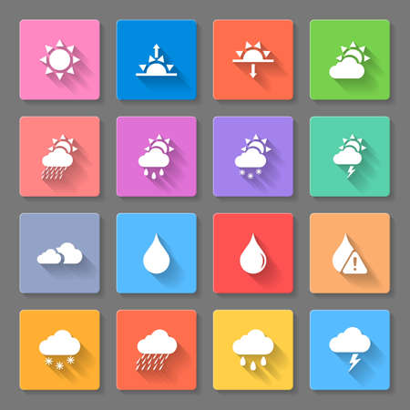 describe: colorful weather icons set with sun,clouds,rain drops and snow,using to describe weather Illustration