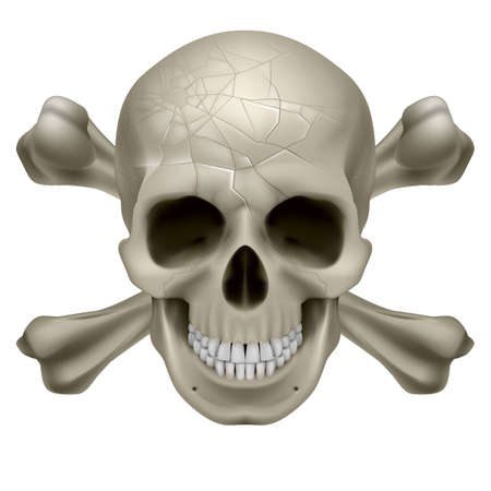 scull: Skull and Crosbones -illustration of a scratch  human skull with crossed bones behind it isolated on white background