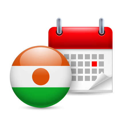 niger: Calendar and round Nigerien flag icon. National holiday in Niger Illustration