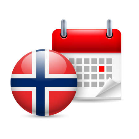 ensign: Calendar and round Norwegian flag icon. National holiday in Norway