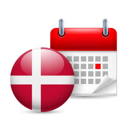 danish: Calendar and round Danish flag icon. National holiday in Denmark Illustration