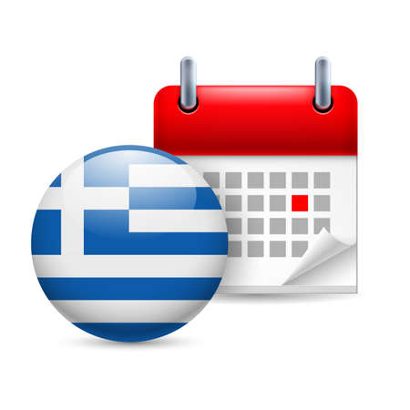 greek flag: Calendar and round Greek flag icon. National holiday in Greece Illustration