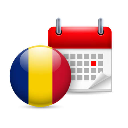 ensign: Calendar and round Romanian flag icon. National holiday in Romania
