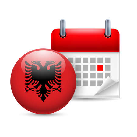 albanian: Calendar and round Albanian flag icon. National holiday in Albania