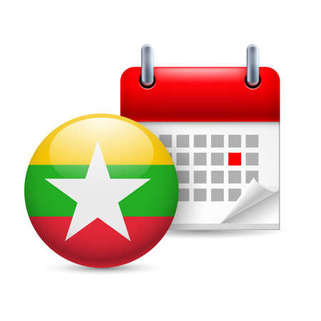 myanmar: Calendar and round flag icon. National holiday in Myanmar Illustration