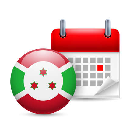Calendar and round Burundian  flag icon. National holiday in Burundi Stock Vector - 30077891