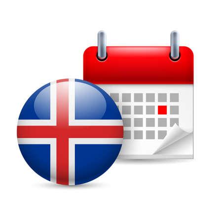 icelandic flag: Calendario y icono de la bandera de Islandia ronda. Fiesta nacional en Islandia