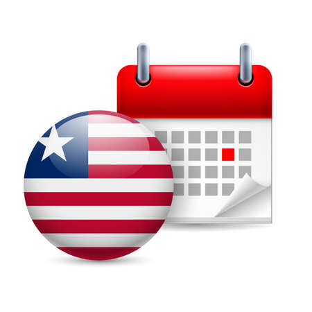 ensign: Calendar and round Liberian flag icon. National holiday in Liberia