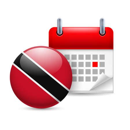 national flag trinidad and tobago: Calendar and round flag icon. National holiday in Trinidad and Tobago Illustration