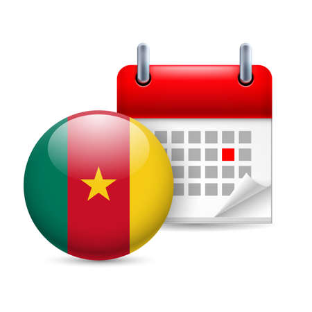 cameroonian: Calendar and round Cameroonian flag icon. National holiday in Cameroon