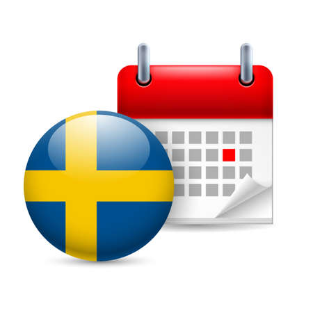 Calendar and round Swedish flag icon. National holiday in Sweden Stock Vector - 30077981