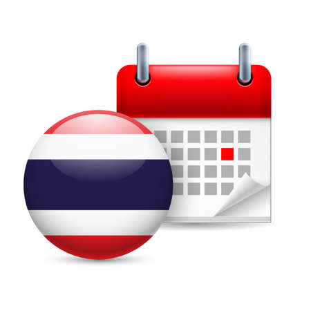 ensign: Calendar and round Thai flag icon. National holiday in Thailand Illustration