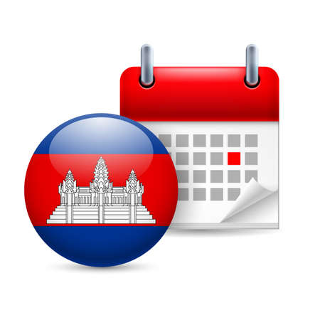 cambodian flag: Calendar and round Cambodian flag icon. National holiday in Cambodia