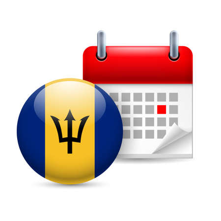 Calendar and round Barbadian flag icon. National holiday in Barbados Illustration