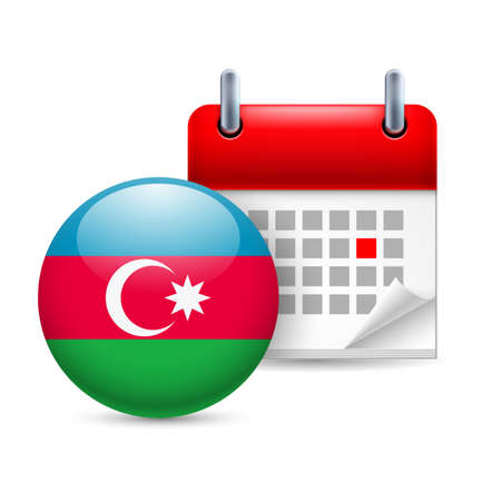 azerbaijanian: Calendar and round Azerbaijanian flag icon. National holiday in Azerbaijan