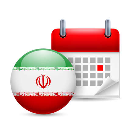 ensign: Calendar and round Iranian flag icon. National holiday in Iran Illustration