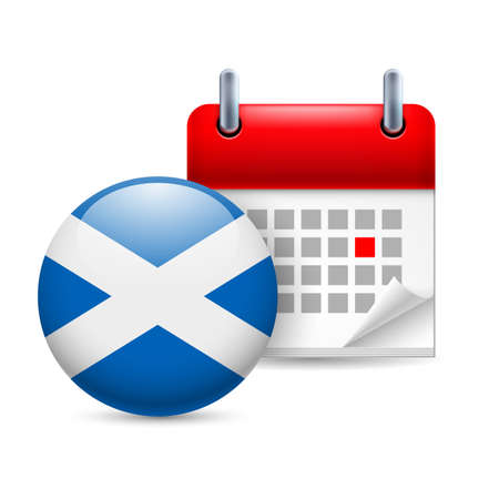 ensign: Calendar and round Scottish flag icon. National holiday in Scotland