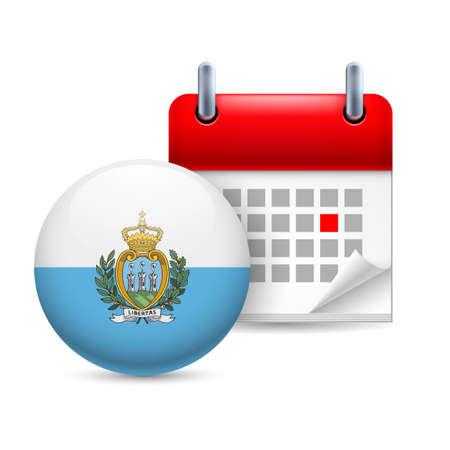 marino: Calendar and round flag icon. National holiday in San Marino Illustration