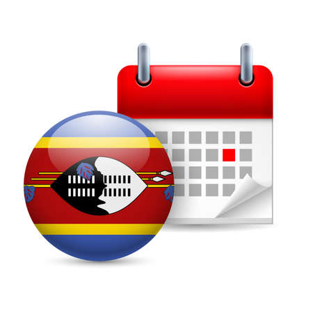 Calendar and round flag icon. National holiday in Swaziland Stock Vector - 30078004