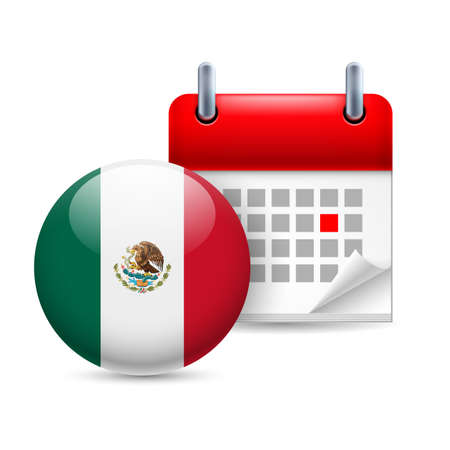 mexico flag: Calendar and round Mexican flag icon. National holiday in Mexico Illustration
