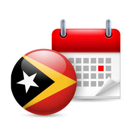 Calendar and round flag icon. National holiday in East Timor Stock Vector - 30078013