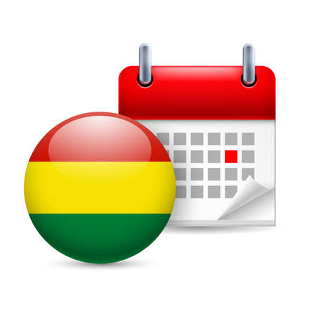Calendar and round Bolivian flag icon. National holiday in Bolivia Stock Vector - 30078018