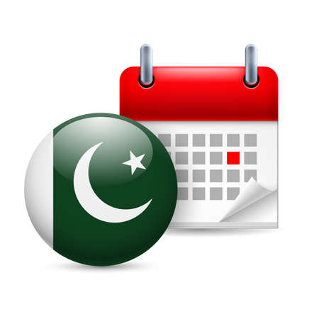 pakistani pakistan: Calendar and round Pakistani flag icon. National holiday in Pakistan