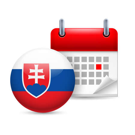 slovakian: Calendar and round Slovak flag icon. National holiday in Slovakia