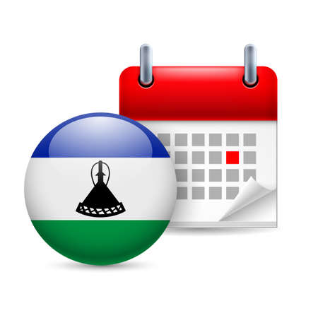 lesotho: Calendar and round flag icon. National holiday in Lesotho