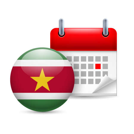 ensign: Calendar and round Surinamese flag icon. National holiday in Suriname