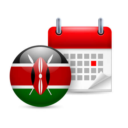 Calendar and round Kenyan flag icon. National holiday in Kenya Stock Vector - 30078033