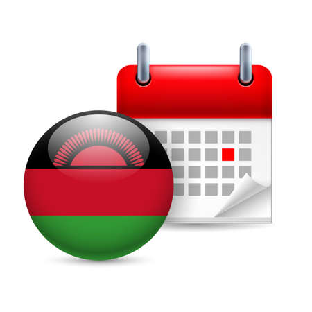 malawian: Calendar and round Malawian flag icon. National holiday in Malawi