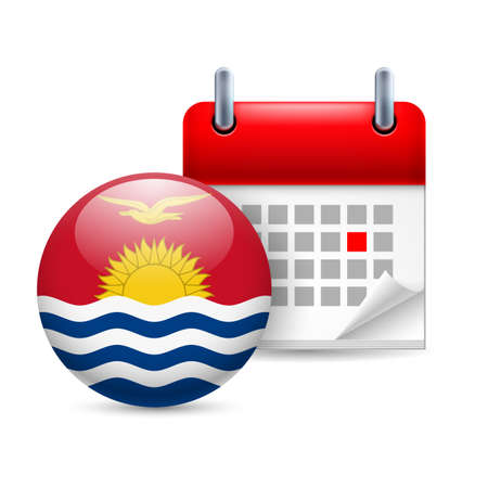 national holiday: Calendar and round flag icon. National holiday in Kiribati