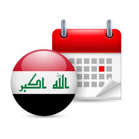 iraqi: Calendar and round Iraqi flag icon. National holiday in Iraq