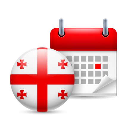 georgian: Calendar and round Georgian flag icon. National holiday in Georgia Illustration