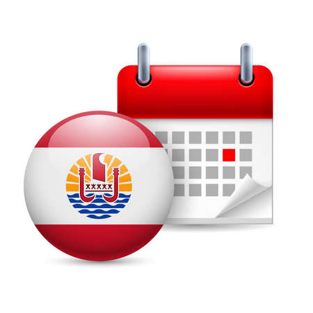 french flag: Calendar and round flag icon. National holiday in French Polynesia
