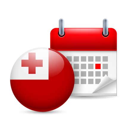 tonga: Calendar and round Tongan flag icon. National holiday in Tonga