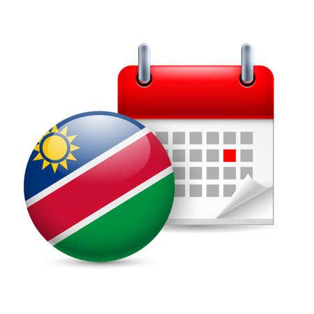 national holiday: Calendar and round Namibian flag icon. National holiday in Namibia