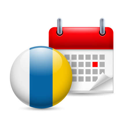 canary islands: Calendar and round flag icon. National holiday in Canary Islands Illustration