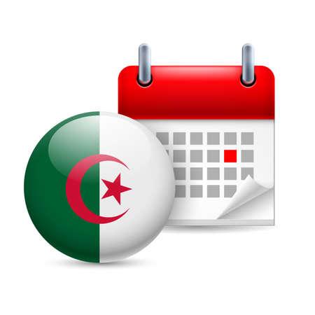 Algierski: Kalendarz i ikonę flagi Algierii rundy. Święto Narodowe w Algierii