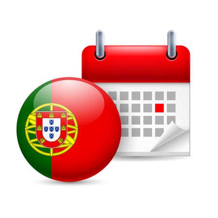 drapeau portugal: Calendrier et manche portugaise drapeau icône. Fête nationale au Portugal Illustration