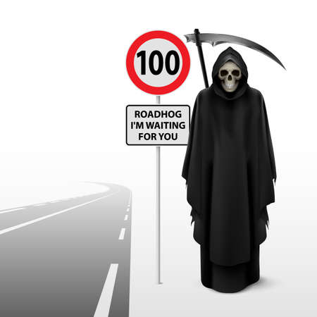 one lane street sign: Scytheman beside the road with a traffic sign 100 Stock Photo