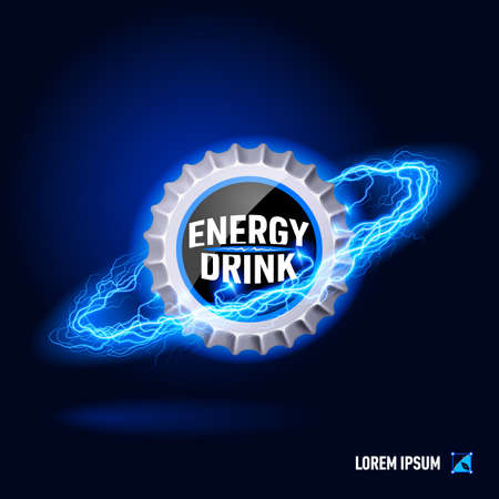 energy drink: Cover energy drink surrounded by a stream of blue energy in the space