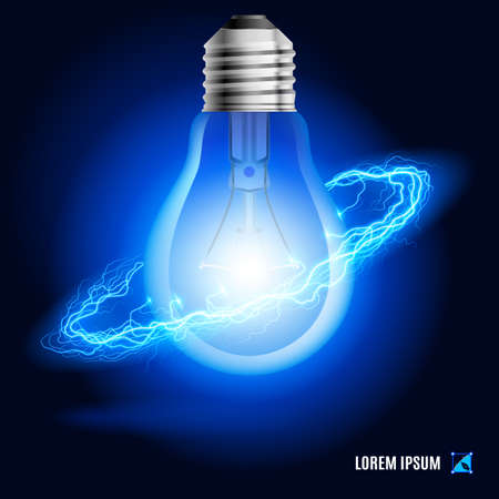 socle: Lamp surrounded by a stream of blue energy in the space Stock Photo